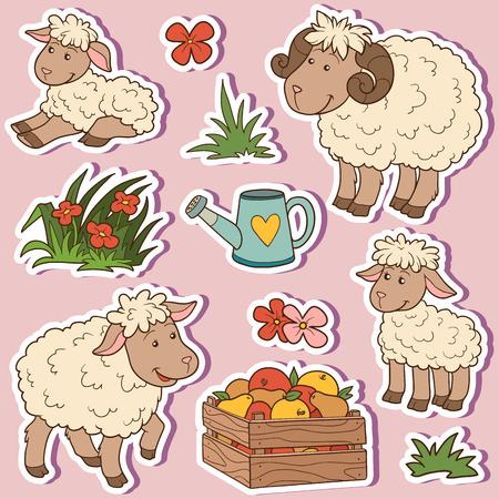 ovejas bebes: Animales de granja establecido, pegatinas de vectores con la familia de ovejas y artículos agrícolas