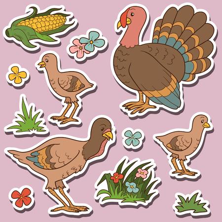 animales de granja: Animales de granja establecido, pegatinas de vectores con la familia de pavo y art�culos agr�colas Vectores