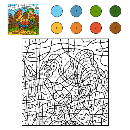 number cartoon: Color by number for children: farm animals (rooster, cock)