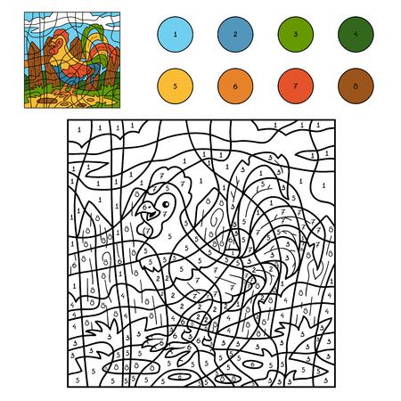 nombres: Couleur par numéro pour les enfants: animaux de la ferme (coq, coq)