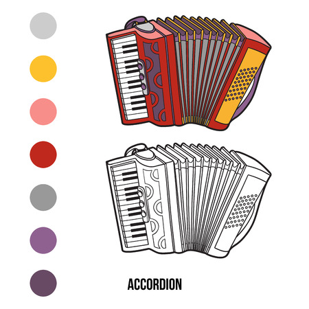 Coloring book for children: musical instruments (accordion) Vectores