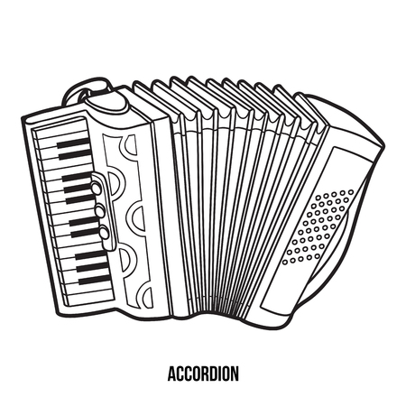 Coloring book for children: musical instruments (accordion) Illustration