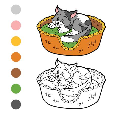 libro caricatura: Libro para colorear para los niños (gato en una cesta en una almohada)