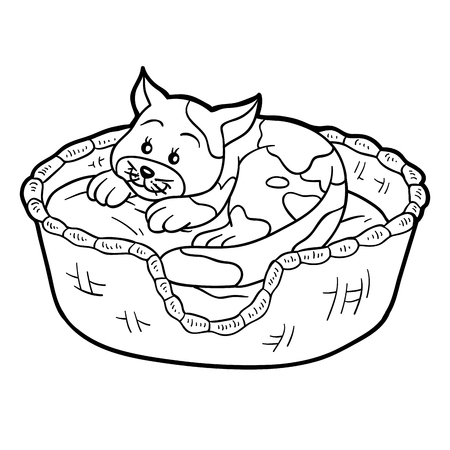 tiger page: Coloring book for children (cat in a basket on a pillow)