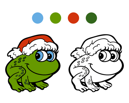 christmas spirit: Coloring book: Christmas frog. Game for children