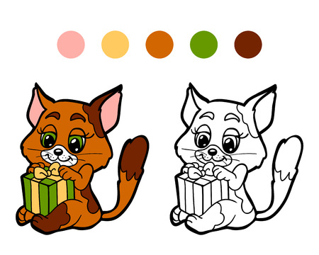 christmas spirit: Coloring book: Christmas winter cat. Game for children