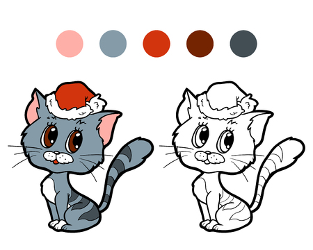grey cat: Coloring book for children Christmas cat Illustration