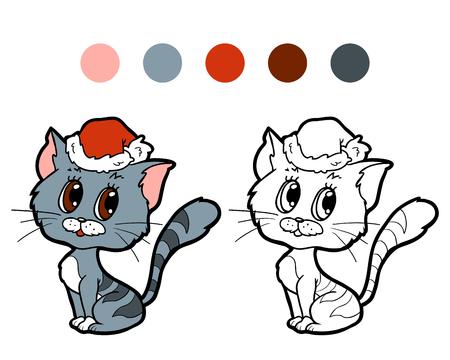 Coloring book for children Christmas cat Illustration