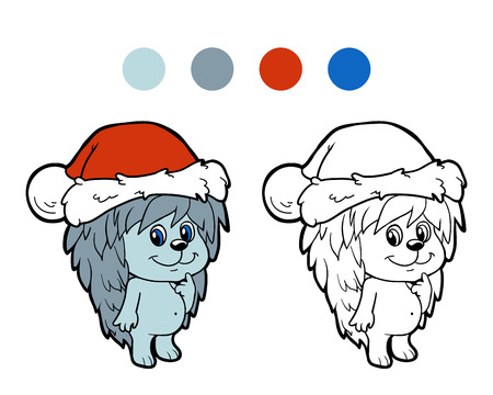 christmas spirit: Coloring book: Christmas winter hedgehog. Game for children