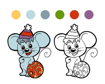 rata caricatura: Libro para colorear: Ratón de invierno de Navidad. Juego para los niños