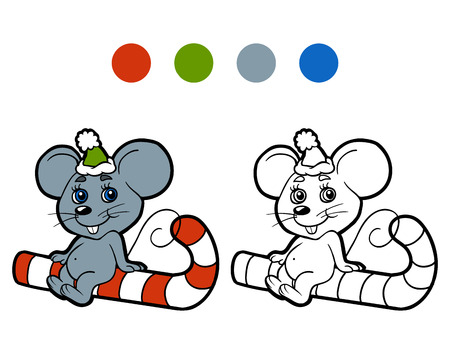 mice: Coloring book: Christmas winter mouse. Game for children Illustration