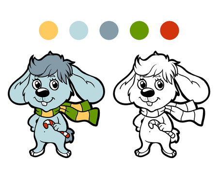 conejo: Libro para colorear: conejo de invierno de Navidad. Juego para los niños Vectores