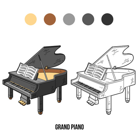 Coloring book for children: musical instruments grand piano Vectores