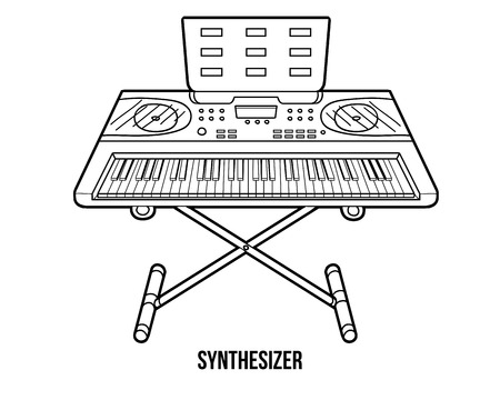 synthesizer: Coloring book for children: musical instruments synthesizer