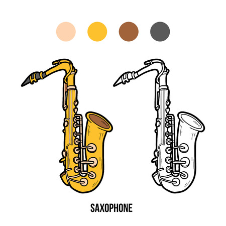 brass: Coloring book for children: musical instruments saxophone Illustration
