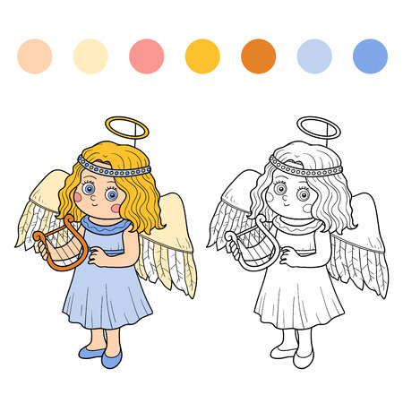 costume cartoon: Coloring book game for children: Halloween characters (angel)