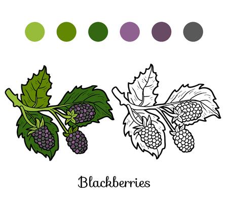 blackberries: Coloring book for children: fruits and vegetables (blackberries)