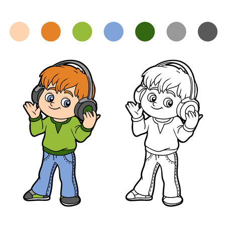 Coloring book for children: little boy listening to music on headphones
