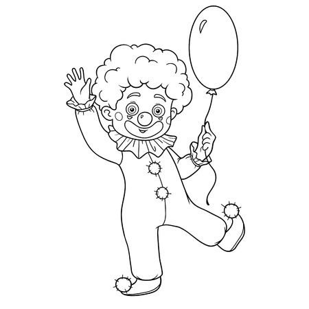 coloration: Coloring book for children: Halloween characters (clown and balloon)