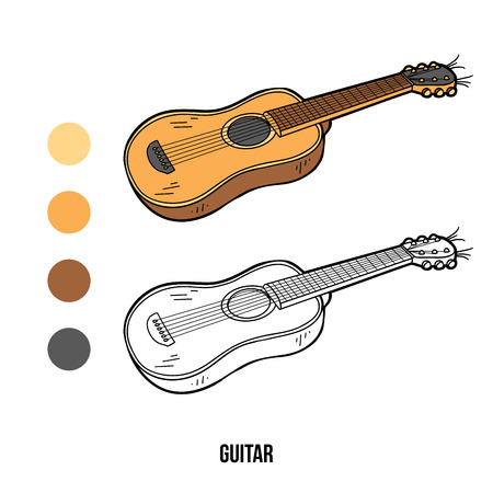 Coloring Book For Children Education Game Music Instruments Guitar Vector