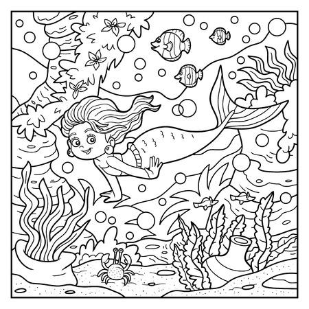 hadas caricatura: Libro para colorear para niños: sirenita y el mundo del mar Vectores