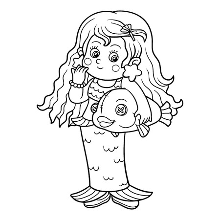 fairy tale mermaid: Coloring book for children: Halloween characters (mermaid costume)