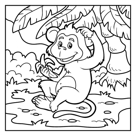 color page: Coloring book for children: little monkey with a banana