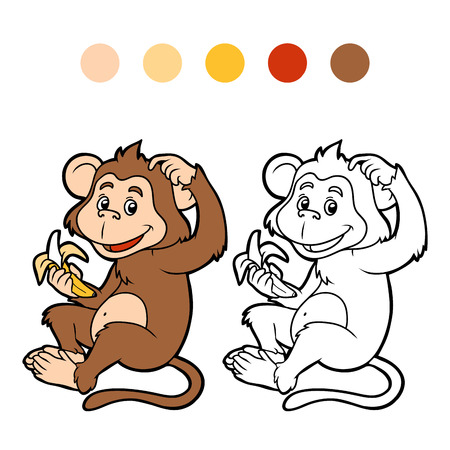 animales del bosque: Libro para colorear para niños: el mono con un plátano
