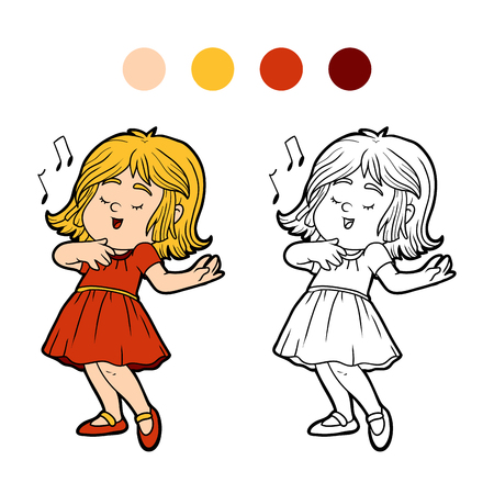 little girl dress: Coloring book for children: little girl in a red dress is singing a song