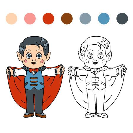 vampire bat: Coloring book for children: Halloween characters (vampire, boy)