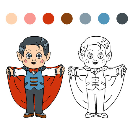 Coloring book for children: Halloween characters (vampire, boy)