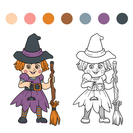themes: Find differences for children: Halloween characters (girl witch)