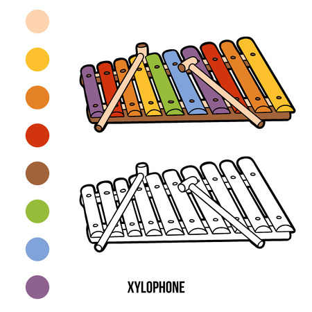 outline person: Coloring book for children: musical instruments (xylophone) Illustration