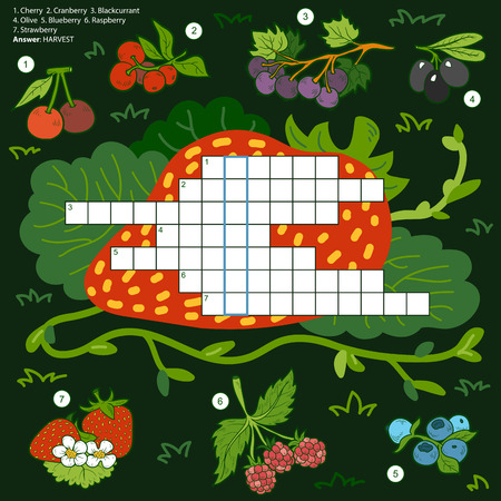 word game: Vector color crossword, education game for children about berries on black background