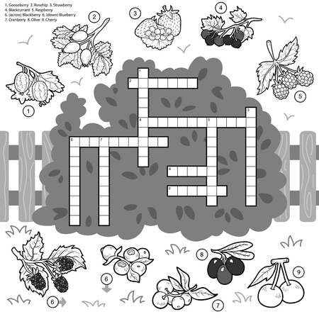 crossword puzzle: Vector colorless crossword, education game for children about berries Illustration