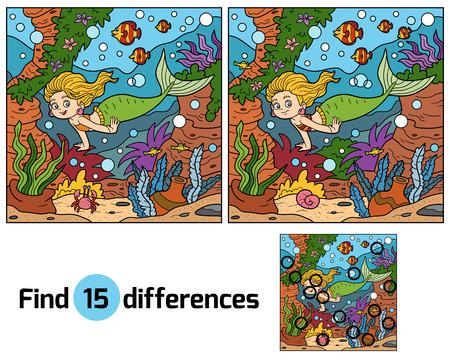 子供のためのゲーム: (人魚姫と海の小さな世界) の違いを見つける  イラスト・ベクター素材