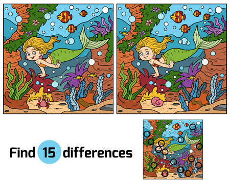 beautiful mermaid: Game for children: find differences (little mermaid and sea world)