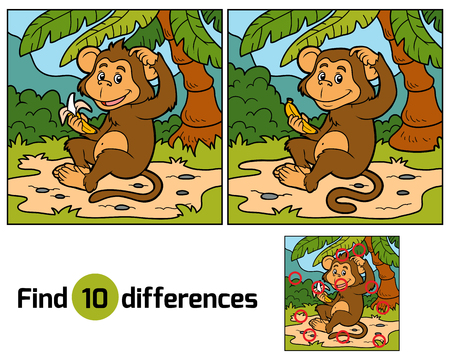 monkey in a tree: Game for children: find differences (little monkey with a banana)