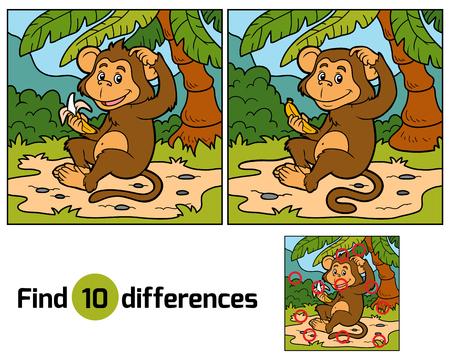 banana caricatura: Juego para los niños: encontrar diferencias (pequeño mono con un plátano)