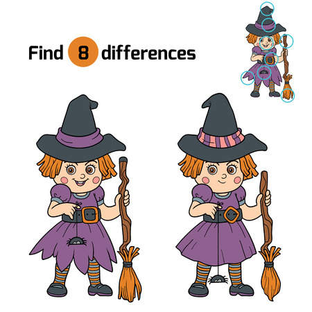 find solution: Find differences game for children: Halloween characters (witch) Illustration