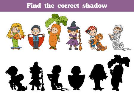 brujas caricatura: Encuentra la sombra correcta: Siete personajes de Halloween Vectores