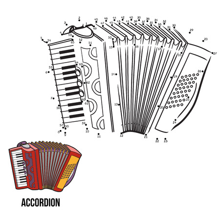 accordion: Numbers game for children: musical instruments (accordion)