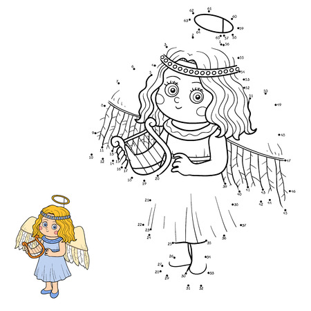 angel girl: Numbers game for children: Halloween characters (little angel) Illustration