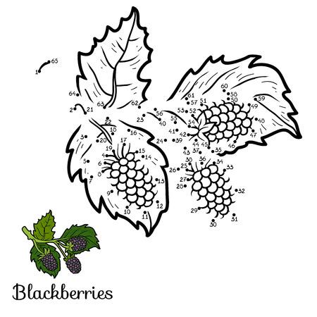blackberries: Numbers game for children: fruits and vegetables (blackberries) Illustration