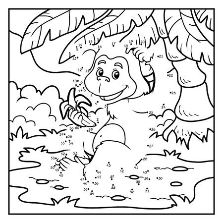 Números de juegos para niños: pequeño mono con un plátano Ilustración de vector