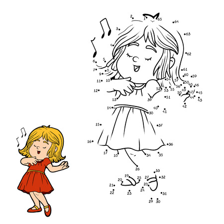 Numbers game for children, education game: little girl in a red dress is singing a song