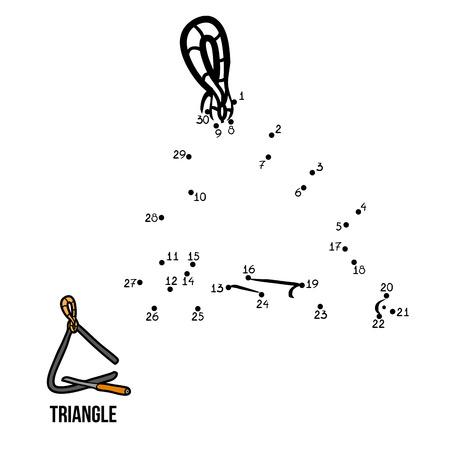 instrumentos musicales: Números de juegos para niños: instrumentos musicales (triángulo) Vectores
