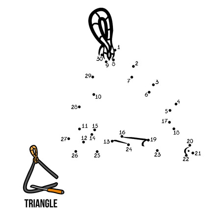 instruments de musique: Numbers jeu pour les enfants: des instruments de musique (triangle)