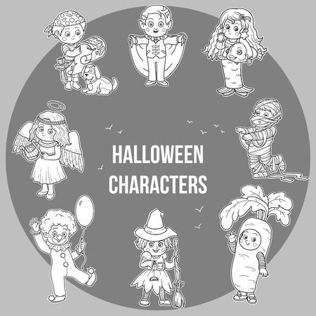 cartoon witches: Vector conjunto de caracteres de Halloween lindo, colecci�n de dibujos animados, pegatinas incoloro con ni�os con trajes de Carnaval