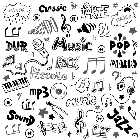 Vector set of hand drawn doodles on music theme. Colorless music symbols and words